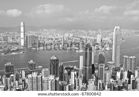 hongkong black and white - stock photo