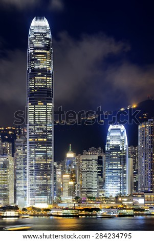 Hongkong China from Kowloon side across from Victor Harbor - stock photo