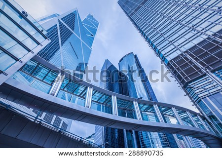 Hongkong, China- June 2, 2015: Modern office buildings in  blue color tone .