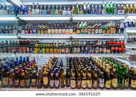 HONGKONG, CHINA - MAY 28: A top supermarket selling fresh grocery and frozen items in Hongkong on May 28,2015. Delicate decoration improve the customer's shopping experience. - stock photo
