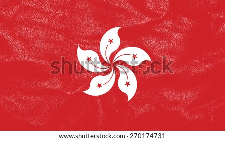 Hongkong flag on leather texture - world flag leather textured
