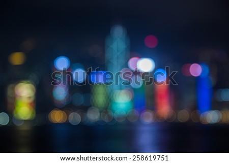 Hongkong Skyline at Night- Blurred Photo bokeh - stock photo