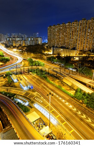 Hongkong traffic night,aerial view of the city overpass - stock photo