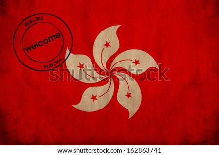 Honk Kong textured flag with airport stamp