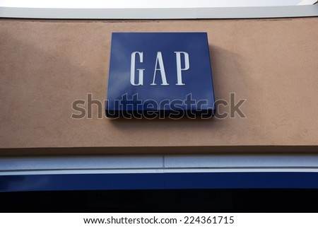 HONOLULU - AUGUST 7, 2014:  : Gap store exterior and sign at the Ala Moana Center The Gap, Inc. is an American multinational clothing and accessories retailer on August 7, 2014. - stock photo
