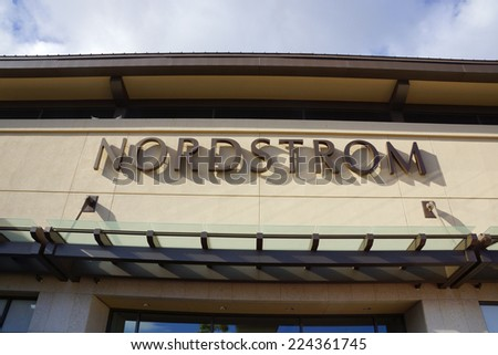 HONOLULU - AUGUST 7, 2014:  : Nordstrom department store sign  at the Ala Moana Center, Nordstrom is a major clothing retailer on August 7, 2014. - stock photo