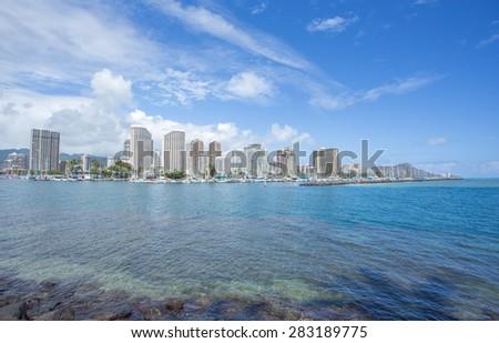 Honolulu downtown and Diamond head mountain, Hawaii - stock photo