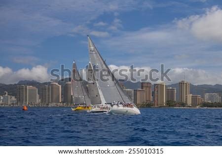 Honolulu, Feb. 22:  Recreational sailing is growing in popularity in Hawaii.  Honolulu, Hawaii, USA.  February 22, 2015. - stock photo