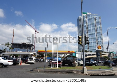 HONOLULU - FEBRUARY 17, 2015: Shell petrol station in Honolulu, Hawaii on February 14, 2015.  Royal Dutch Shell is integrated in every area of the oil and gas industry and works worldwide. - stock photo