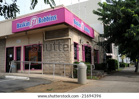 HONOLULU, Hawaii - Nov 21: Baskin Robbins ice cream parlor at 1618 South King Street was Obama's first job during his high-school years, seen here on Nov. 21, 2008. - stock photo