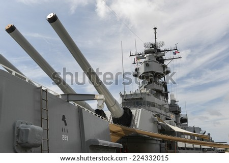 HONOLULU, HAWAII - OCTOBER 6, 2012: The Battleship USS Missouri at anchor in Pearl Harbor, Hawaii. - stock photo