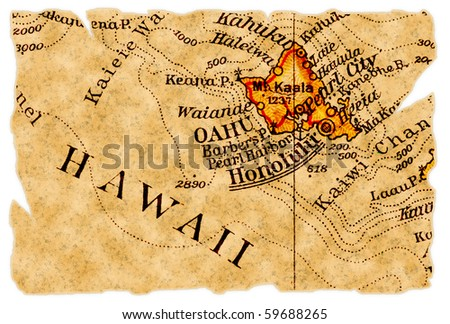 Honolulu, Hawaii on an old torn map from 1949, isolated. Part of the old map series. - stock photo