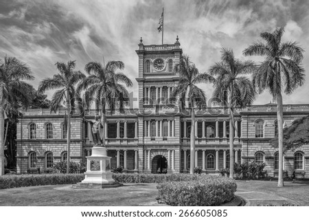 Honolulu, Hawaii, USA, April 5, 2015:  King Kamehameha Statue stands outside the main courthouse in downtown Honolulu Hawaii.  King Kamehameha united the islands of Hawaii over a century ago. - stock photo