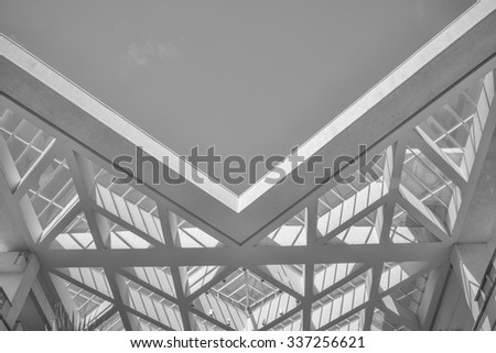 Honolulu, Hawaii, USA, Nov. 9, 2015:  Vertical view of the morning light and sky on the skylight at the Honolulu, Convention Center.  The center is known for modern architecture. - stock photo