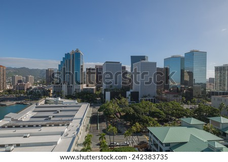 Honolulu, Jan. 07:  Morning view of Honolulu's business district as seen from Aloha Tower.  Honolulu, Hawaii, USA.  Jan. 07, 2015. - stock photo