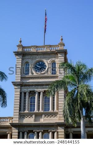 Honolulu, Jan. 27:  Restoration completed at the Hawaii Territorial Courthouse in Honolulu.  Honolulu, Hawaii, USA.  January 27, 2015. - stock photo