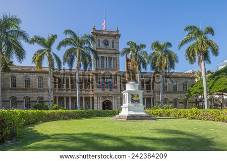 Honolulu, Jan. 07:  The King Kamehameha Statue in the Capital District.  Honolulu, Hawaii, USA.  Jan. 07, 2015  - stock photo