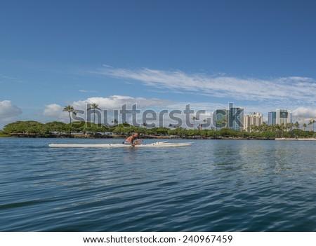 Honolulu, Jan. 1:  The State of Hawaii Ala Wai Harbor serves many water recreational needs.  Honolulu, Hawaii, USA.  Jan. 1, 2015. - stock photo
