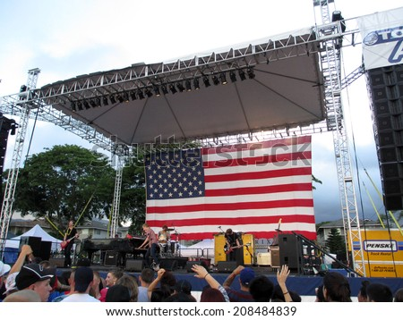 HONOLULU -JULY 4:  Rock Band, Jack's Mannequin, play at 4th of July Spectacular celebrating America at Schofield Barracks event open to the public, Oahu, Hawaii July 4, 2012. - stock photo