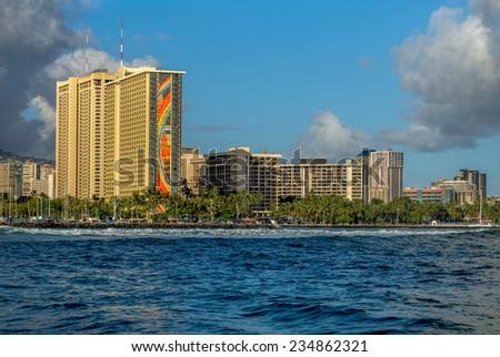 Honolulu, May 17:  Afternoon offshore view of the renovated Hilton Rainbow Tower in Waikiki.  Honolulu, Hawaii, USA.  May 17, 2014.