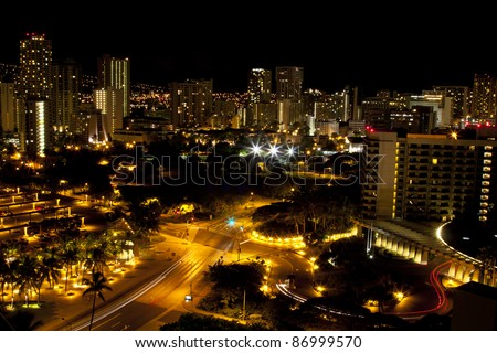 Honolulu skyline night HDR - stock photo