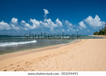 HONOLULU, USA - AUGUST, 14 2014 -  People having fun at hawaii island beach
