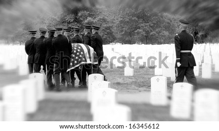Honor Guard bearing casket to grave at Arlington National Cemetery - stock photo