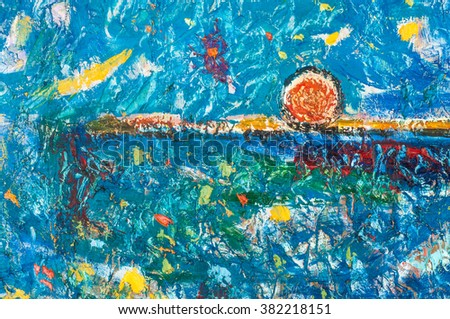 Honored Artist of Tatarstan M. Sh Khaziev. Abstract drawing in oil on canvas. Expression Abstract painting. Abstract painted canvas. Oil paints on a palette. Colorful background.