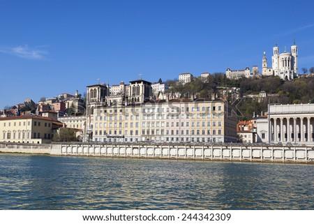 Honrizontal view of Lyon with Saone river, France. - stock photo