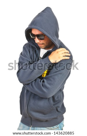 Hooded rapper man isolated on white background
