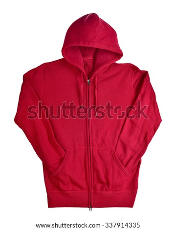 Hooded red sweater isolated on white background. This has clipping path. - stock photo
