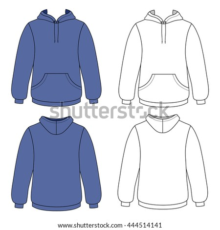 Hoodie sweater (front & back outlined view)
