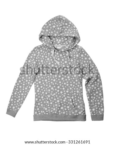 Hoodie with a pattern stars. Isolate on white. - stock photo