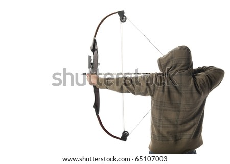 Hoodlum aims a compound bow and arrow - stock photo