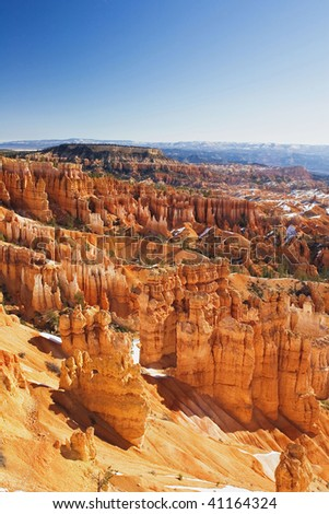 Hoodoo Formations from the rim of Bryce Canyon Bryce Canyon National Park Utah - stock photo
