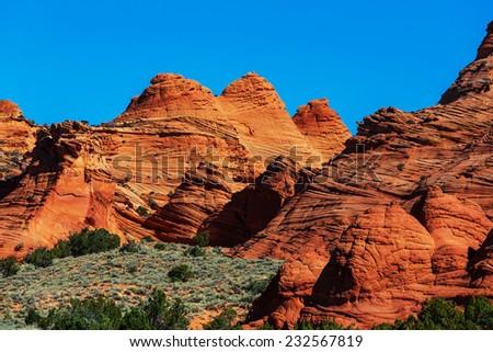 Hoodoo formations in Utah, USA. - stock photo