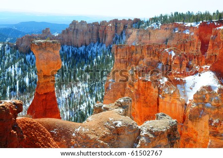 Hoodoo in Bryce canyon winter landscape - stock photo