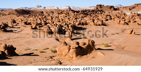 Hoodoo rock formations in Goblin Valley State Park in the Southern desert of Utah