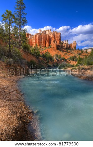 Hoodoos on Mossy Creek Trail in Bryce Canyon - stock photo