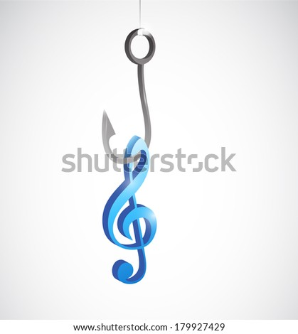 hook and music note illustration design over a white background - stock photo
