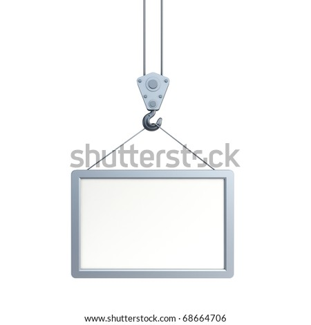 hook holding empty billboard, isolated 3d render - stock photo