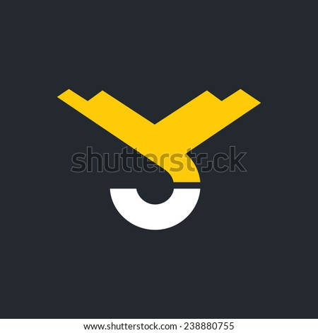 Hook of a crane, hoist sign, monogram the letters V and C Branding Identity Corporate logo design template Isolated on a white background - stock photo