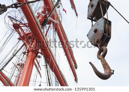 hook on ship - stock photo