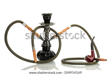 hookah and pipe isolated on white background - stock photo