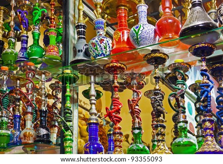 Hookah in souvenir shop at Istanbul Turkey - stock photo