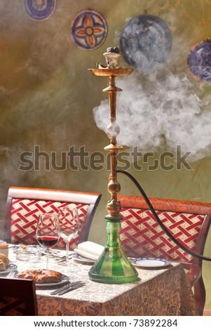 Hookah in the restaurant - stock photo