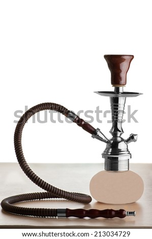 Hookah on a table isolated on white