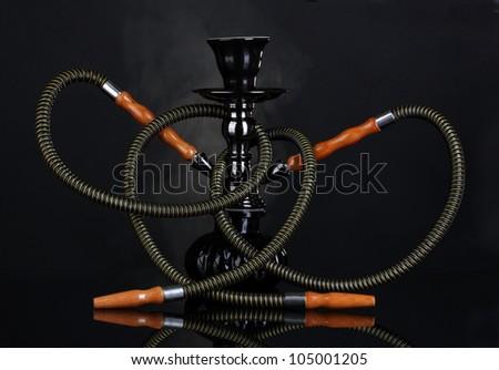 hookah smoke on black background - stock photo