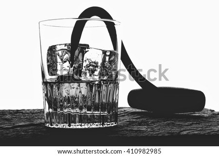 Hooked on alcohol. Glass of ice  and whiskey and hook. - stock photo