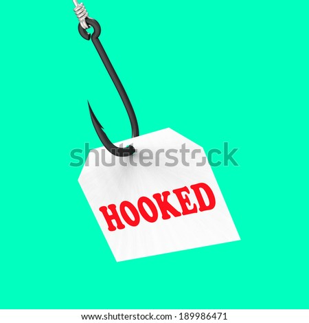 Hooked On Hook Meaning Fishing Equipment Angling Or Catch - stock photo